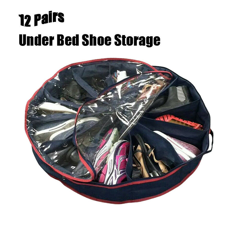 NoEnName-Null Under The Bed Shoes Organizer Round Fits 12 Pairs Boots For Underbed Storage Holder Shoe Box Tidy Bag Rack Pockets