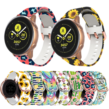 20mm Silicone Band for Samsung Galaxy Watch 42mm Active 2 3 41mm Gear S2 Women Printing Strap Watchband Amazfit bip - discount item  45% OFF Watches Accessories