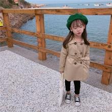 Г. Новое поступление, Осеннее однотонное модное длинное пальто в Корейском стиле с длинными рукавами и поясом для милых маленьких девочек