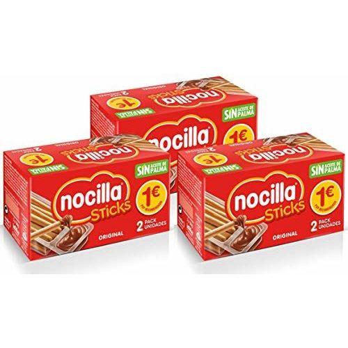 Sticks De Nocilla Original: Crema De Cacao Natural Con Avellana Y Palitos De Pan - Sin Aceite De Palma - 3 Packs De 2 Raciones