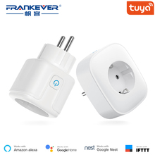 FrankEver EU Smart Plug with Power Monitoring Surge Protector 10A 16A Wifi Socket Voice Control Work with Alexa Google Home