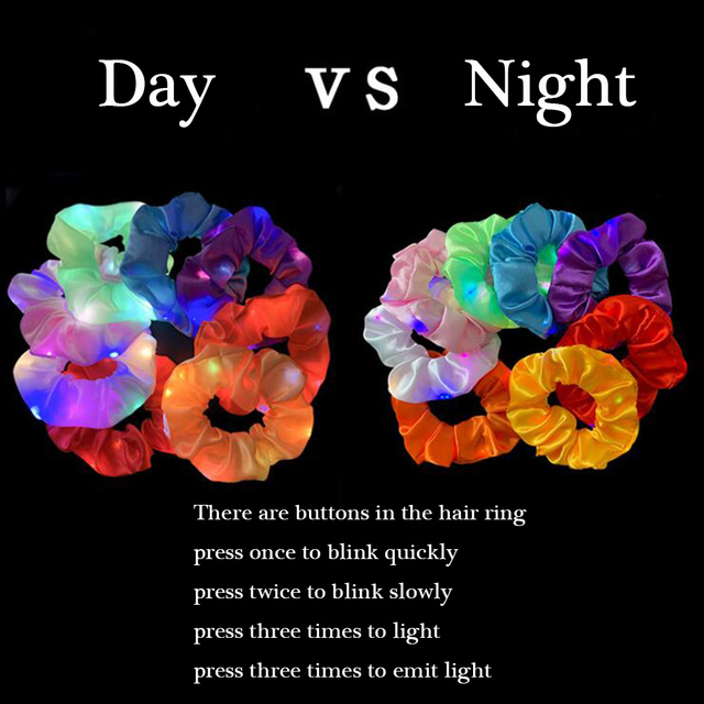 2020 New Arrival Girls LED Luminous Scrunchies Hairband Ponytail Holder Headwear Elastic Hair Bands Solid Color Hair Accessories 5