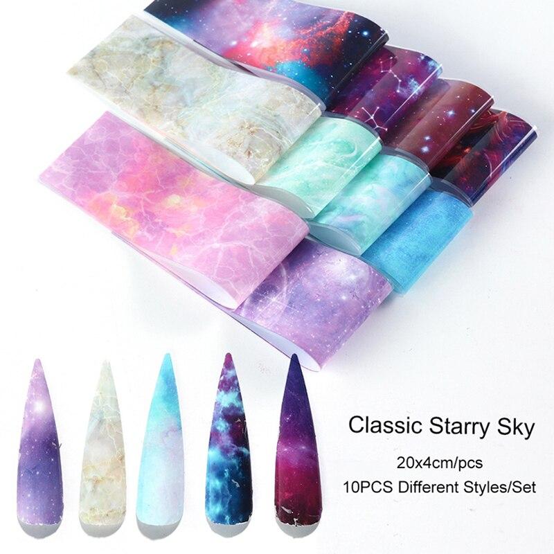 10 рулонов/пакет прозрачный 10 цветов ногтей переводная наклейка голографический набор фольги для ногтей Стикеры и наклейки      АлиЭкспресс