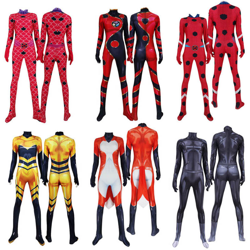 Kids Anime Queen Bee <font><b>Costume</b></font> Adrien <font><b>Cat</b></font> <font><b>Noir</b></font> Adult <font><b>Ladybug</b></font> Cosplay Suits Zentai Jumpsuit Halloween Superhero Outfit Kids Adult image