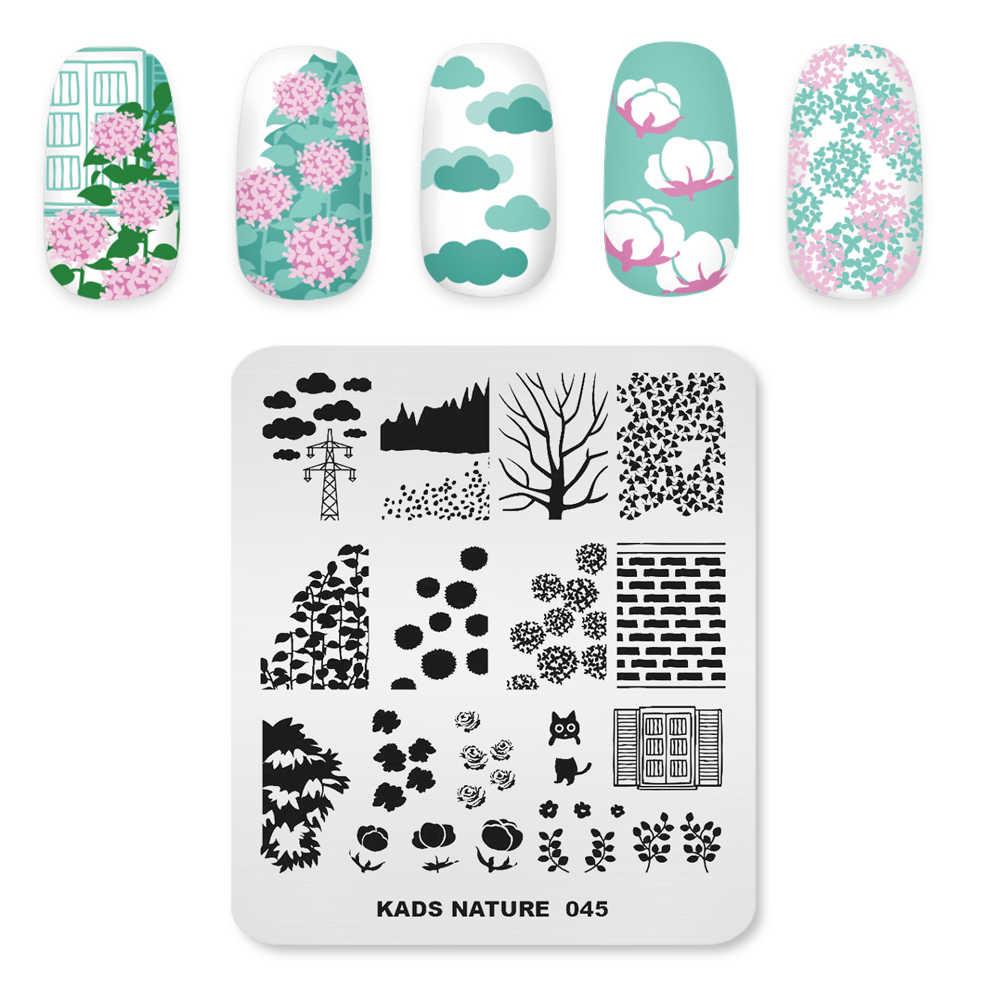 KADS Natural 045 пластины для стемпинга ногтей, роза, цветок, стена, кошка, трафареты изображений дизайн для украшения для ногтей своими руками