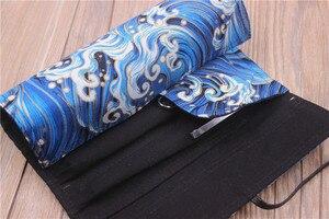Image 2 - Oriental janpan estilo chinês lápis envoltório bolsa de algodão rolo up caneta organizador caso bolsa de viagem para artistas estudante