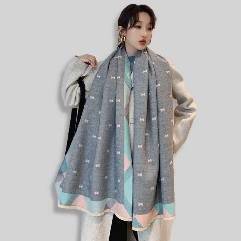 Брендовая дизайнерская обувь Женский кашемировый шарф 2019 зима шарфы для женщин высокое качественные шали и палантины толстый теплый шарф пашмины женский объемный шарф Шелковый шарф