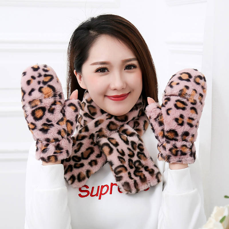 New Fashion Ladies Leopard Plush Touch Screen Gloves Girls Plus Velvet Thick Student Flip Gloves