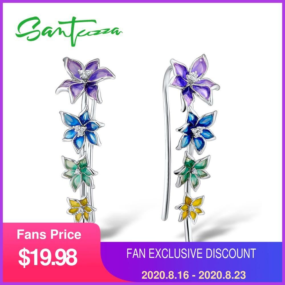 SANTUZZA Silver Earrings For Girl 925 Sterling Silver For Women High Quality Colorful Enamel Flower Earrings Fashion Jewelry