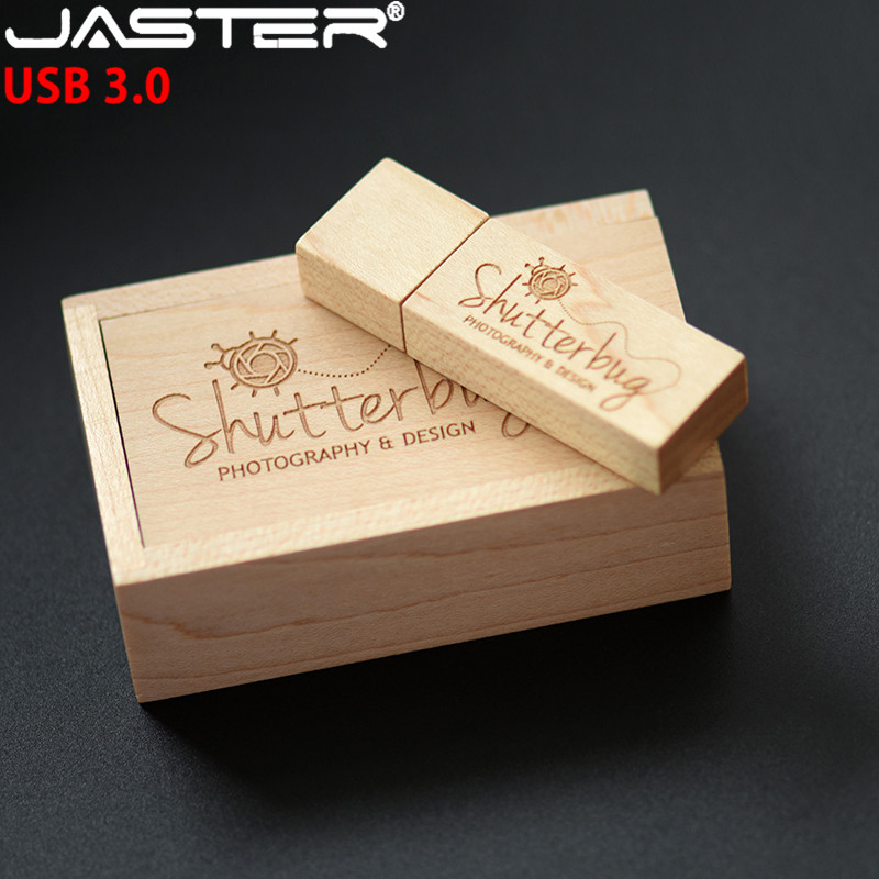 JASTER USB 3.0 Customized LOGO Wooden Bamboo Usb With Box Usb Flash Drive Memory Stick Pen Drive Pendrive 8GB 16GB 32GB 64GB