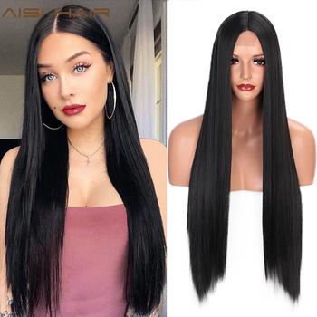AISI HAIR długa prosta czarna peruka peruki syntetyczne dla kobiet naturalna środkowa częściowo koronka peruka włókno termoodporne naturalny wygląd peruka tanie i dobre opinie Wysokiej Temperatury Włókna Długi Proste 1 sztuka tylko Średnia wielkość 30inches Black Long Straight Wig One Beautiful And One Free Gift