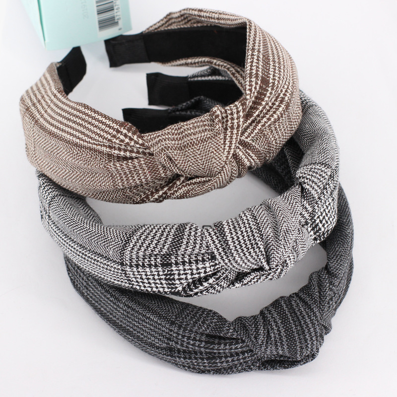 New Arrival Hair Hoop  Checked Turban Headband Houndstooth Check Front Knot Hair Band Alice Headband For Women Hair Accessories