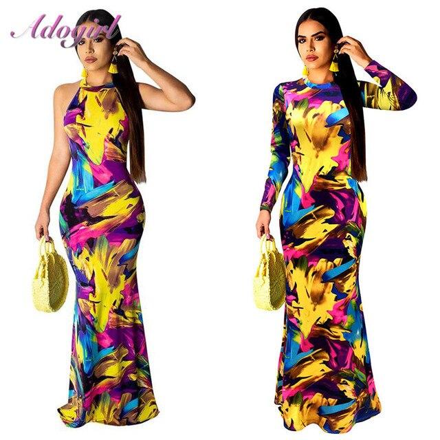 Zarif kadın Boho çiçek baskı Halter bahar ziyafet uzun elbise seksi Backless akşam parti elbiseler Casual vestidos