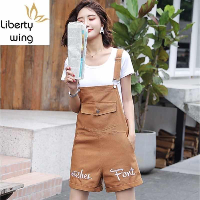Neue Sommer Overalls Frauen Casual Große Tasche Kurze Denim Overalls Solide Weibliche Playsuits Breite Bein Jeans Hosen Mode