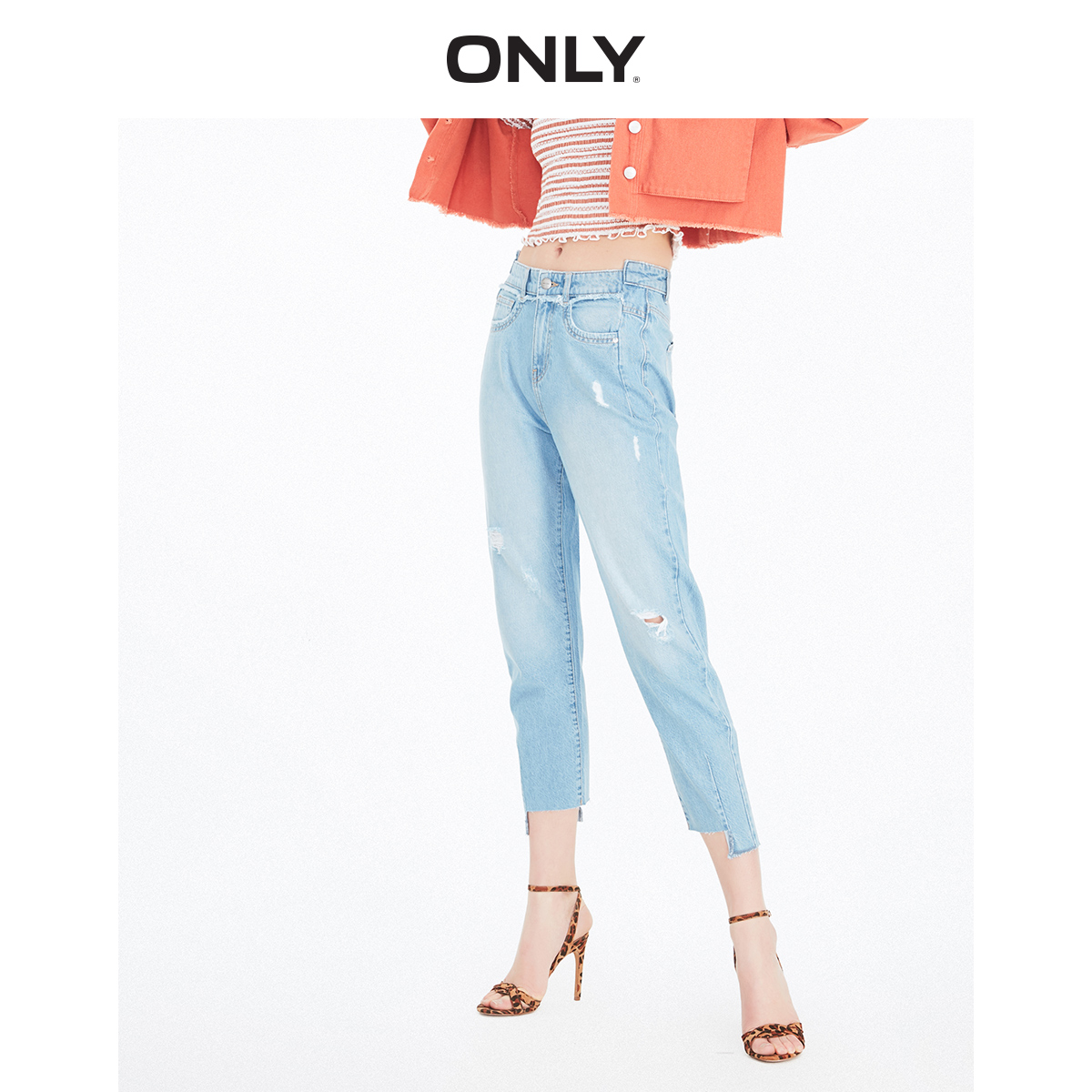 ONLY Women's  Loose Fit Irregular Raw-edge Cuffs Crop Jeans | 119249508
