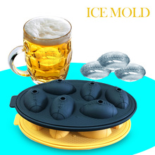 Ice Mold 6 Grids Cream Maker 3D Rugby Shaped Lattice Cover Silicone Food-Grade Box Baking  Bar Kitchen Tool