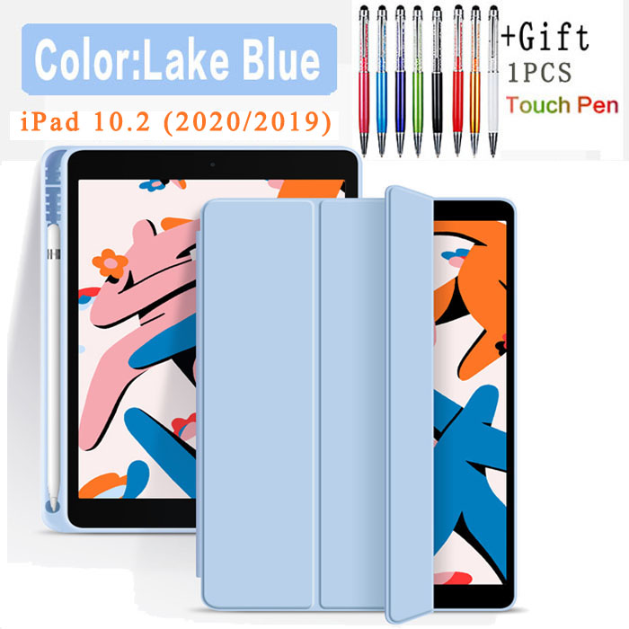 Flip Case-ice blue Other Funda Case For Apple iPad 10 2 2020 2019 flip Case with Pencil Holder For iPad