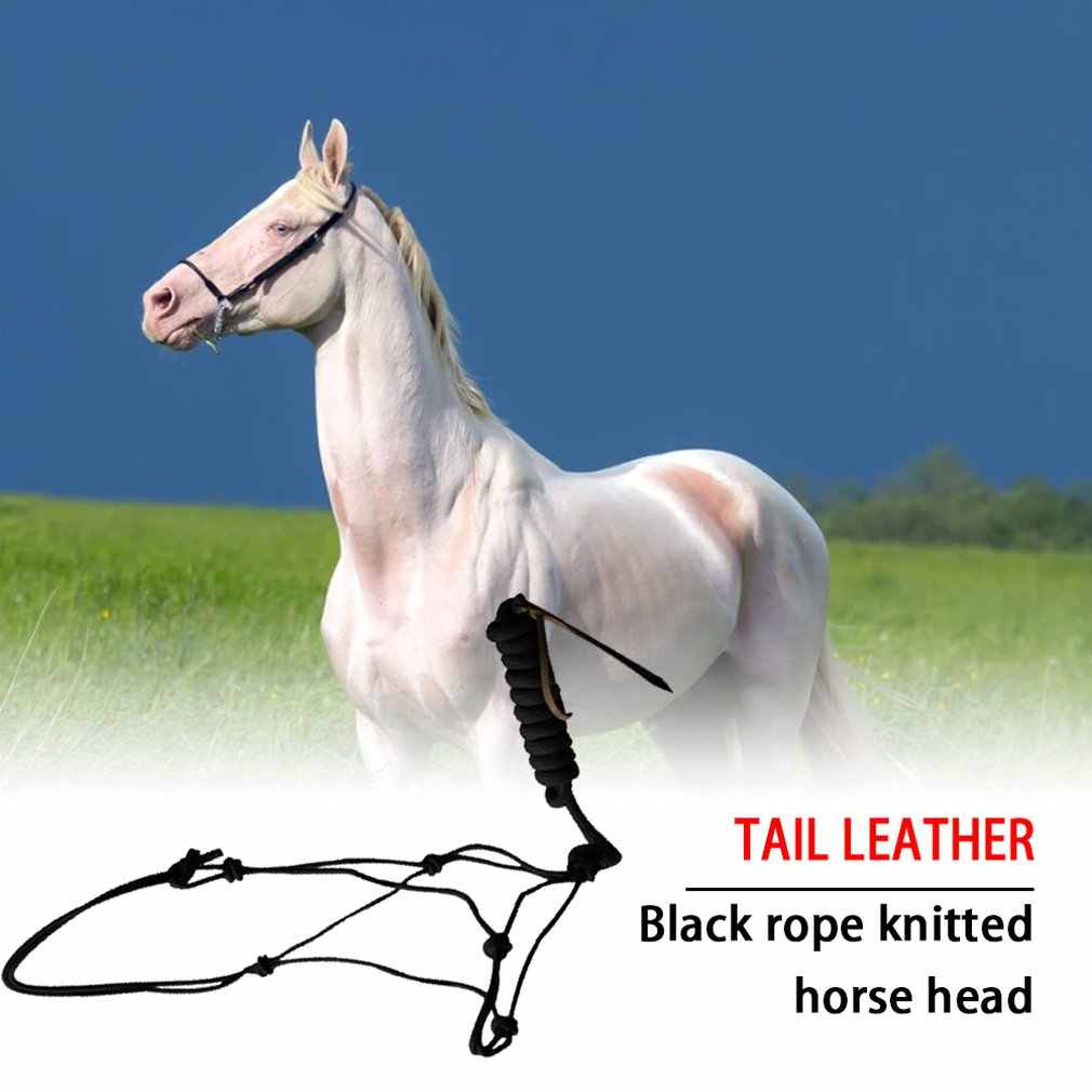 Suministro de caballo negro sólido brida de caballo occidental grifo de caballo negro cuerda trenzada caballo grifo cola de cuero