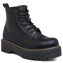 Ботинки мартинсы на толстой подошве женские модные ботинки из