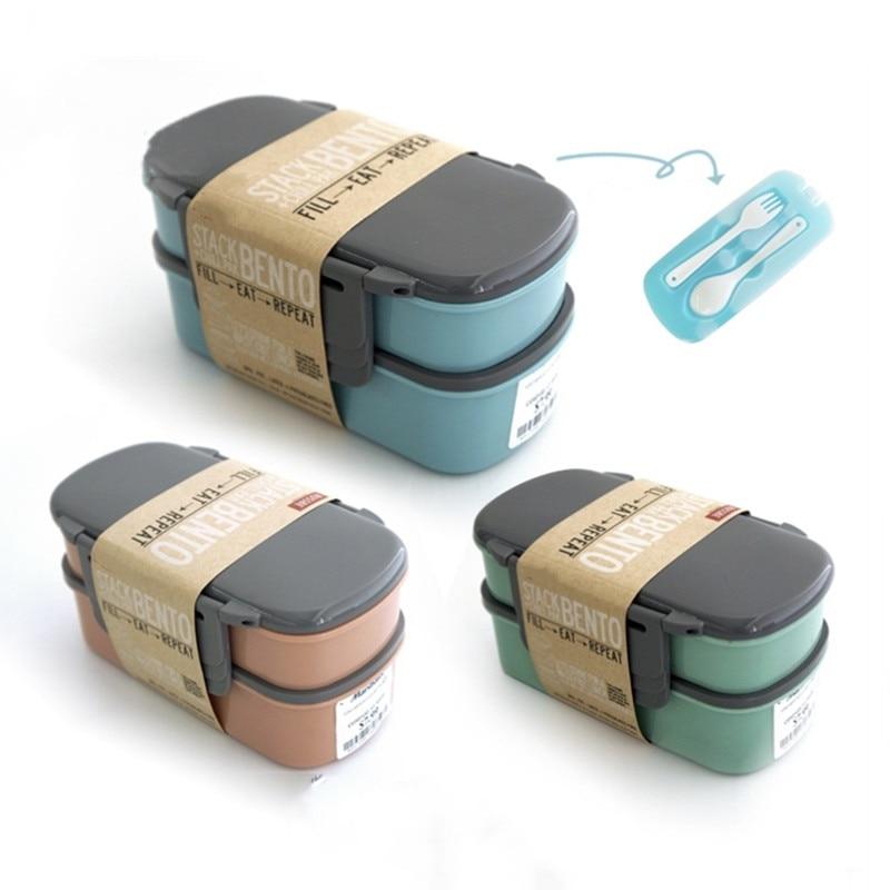 Yaratıcı 800ml çift katmanlı mikrodalga yemek kabı donma sıvı buz kutu Bento yemek kabı ile çatal ve kaşık