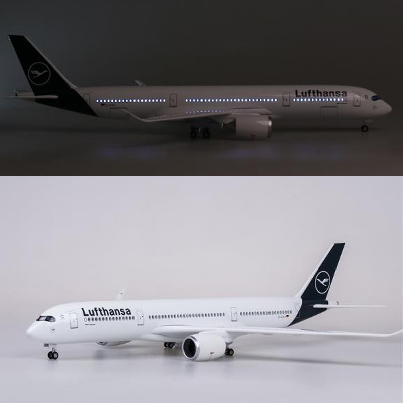 47cm Airplane Model 1/142 Scale Airbus A350 Plane Lufthansa Airline Model With Light And Wheels Resin Aircraft For Collection