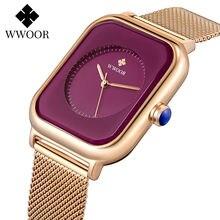 Wwoor стильные Фиолетовые женские часы с браслетом стальные