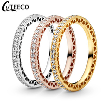 CUTEECO New Hollow Eternal Heart Zircon Ring for Women Luxurious Simple Wedding Engagement Jewelry Valentines Day Gift