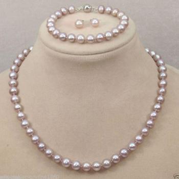 9-10mm natural south seas pink purple pearl necklace bracelet earrings