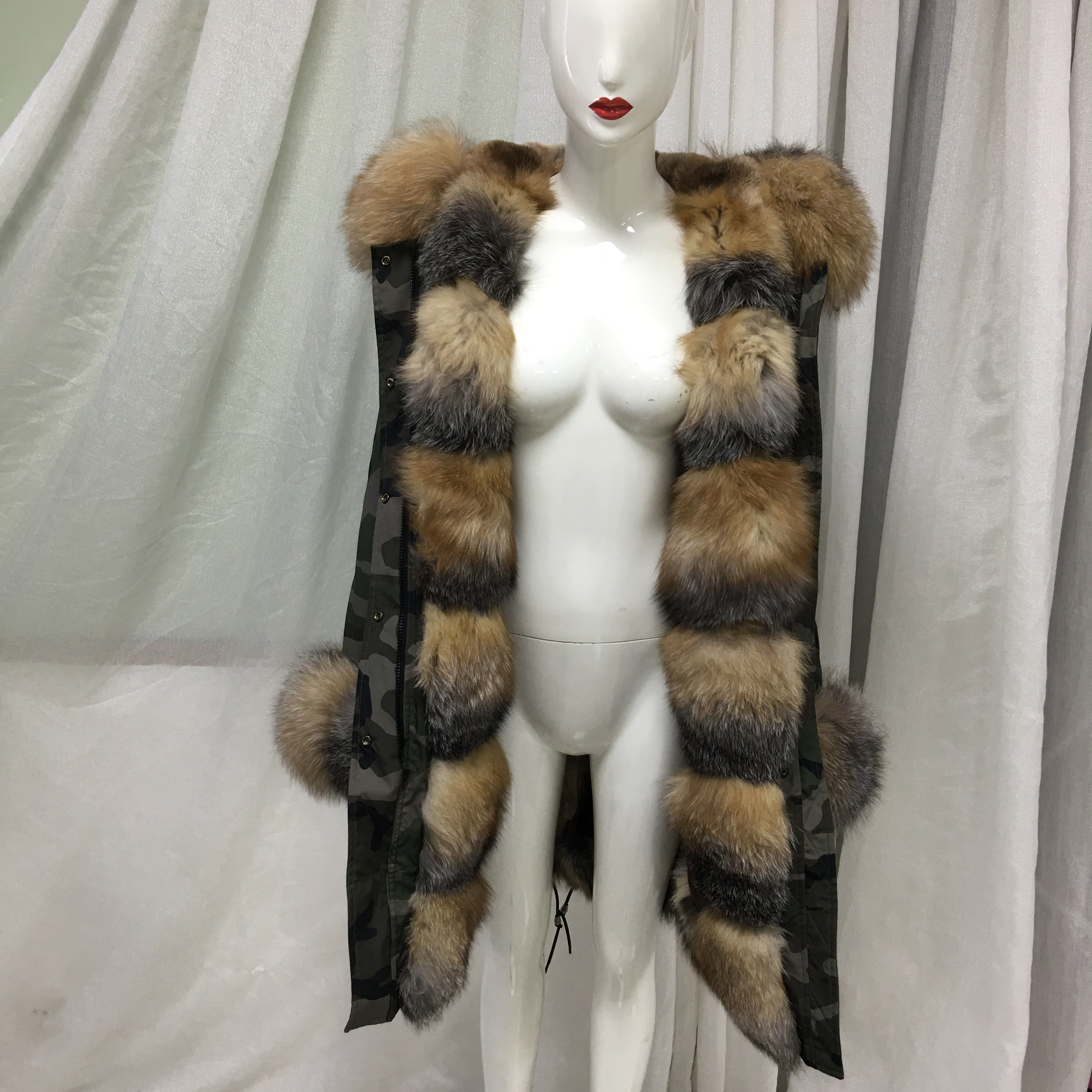 Camoufalge Army Green Special Fox Fur Design Winter New Collection Furs Coats