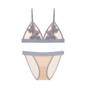 Image 3 - Fransız tarzı dantel bralette kablosuz sutyen seksi üçgen fincan kadın iç çamaşırı hiçbir ped sutyen