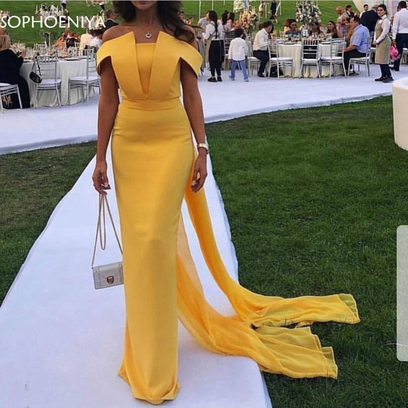 New Arrival Chiffon Yellow Evening Dresses Long 2020 Evening Gown Simple Abiye Abendkleider Dubai Evening Dress