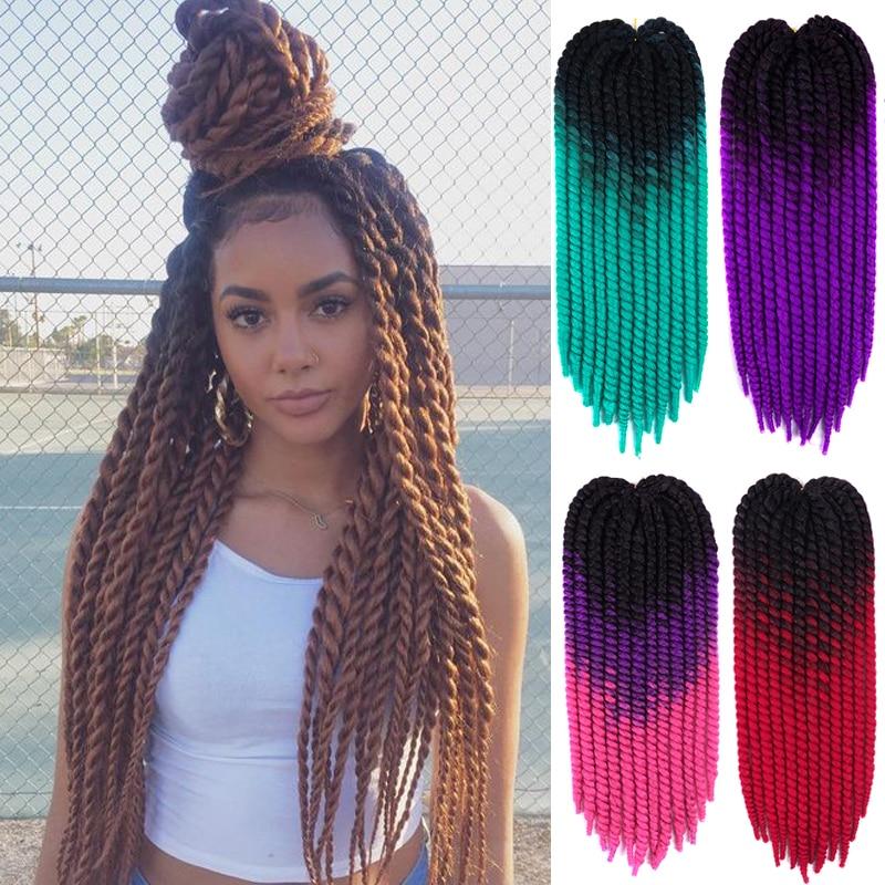 LISIGIRL Hair 22Inch 0.8cm Diamater Handmade Crochet Braids Senegalese Twist Hair Extensions Ombre Synthetic Braids 22Strands/pc