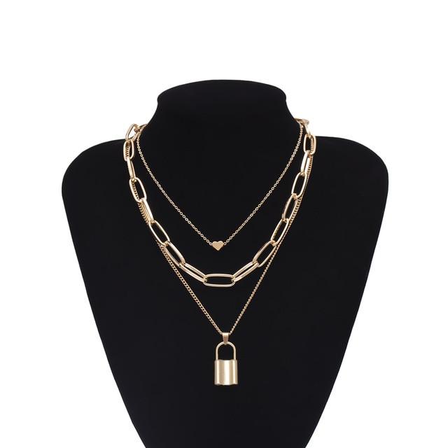 Multi-Layer Padlock Necklace