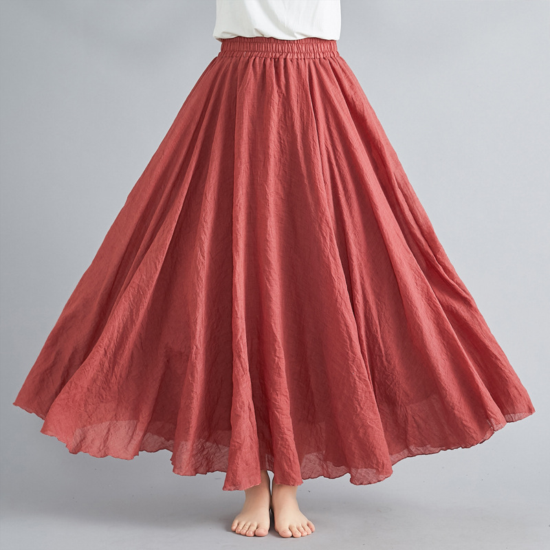 2019 Mori Girl Literature And Art Large Size Cotton Linen Skirt Elastic Waist Flax A- Line Skirt Long Solid Color National Style