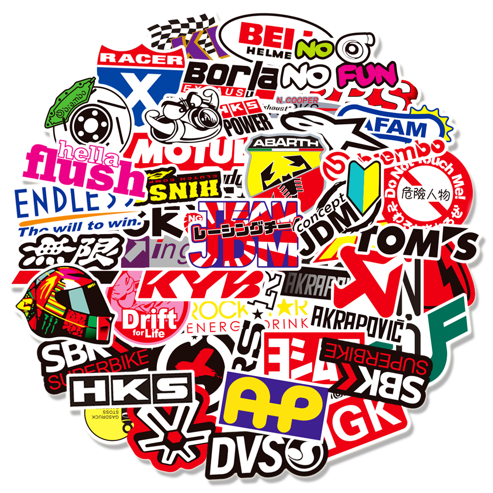 10/30/50/100PCS JDM Racing Car Modification Stickers Graffiti for Motorcycle Bike Skateboard Helmet Laptop Luggage Decals Toys