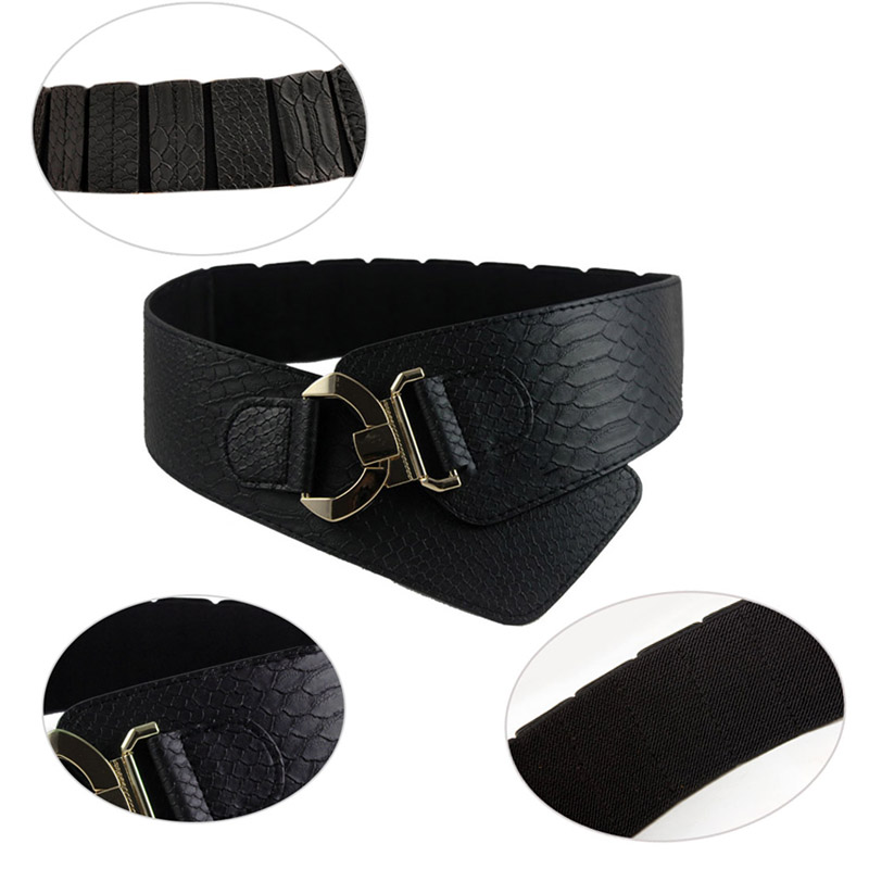 Fashion Woman Waist Belt PU Leather Snakeskin Pattern Oblique Elastic Personality Ladies Girls Super Wide Belts NIN668