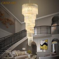 Modern Luxury Crystal Chandelier Lighting LED Prism Cristal Spiral Pendant Hanging Lamp Large Light Fixture