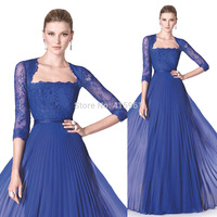 free shipping Long Elegant Evening Dresses Royal Blue Lace Prom Gowns Long Sleeve Chiffon 2019 new Ruched Vestidos Women Couture