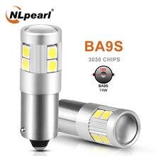 Nlpearl 2x lâmpada de sinal ba9s led t11 ba9s t4w 9smd 3030 chips para carro luz da placa de licença auto tinterior cúpula luzes 12v