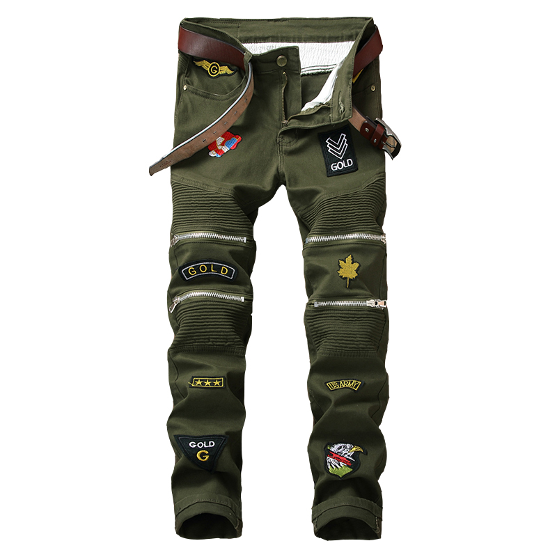 2020 New Arrival Jeans Cargo Pants Regular Military Embroidery Signs Small Straight Tube Camouflage Trousers Male Cross Special