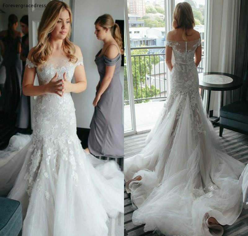 Delicate Tiered Layered Mermaid Wedding Dress Vintage Off The Shoulders Sheer Backless Appliqued Long Bridal Gown Plus Size