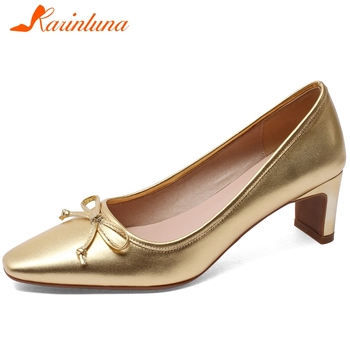 KARINLUNA Big Size 33-43 Ladies Spring Autumn Party Ol Bowtie Pumps Fashion High Heels Pumps Women Genuine Leather Shoes Woman