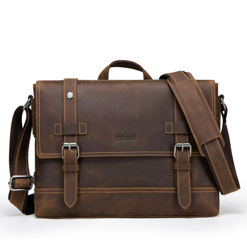 12 Inches Men Briefcase Casual Male Genuine Leather Hand Bag Cow Leather Shoulder Bag For Men Dark Brown Waterproof Briefcase