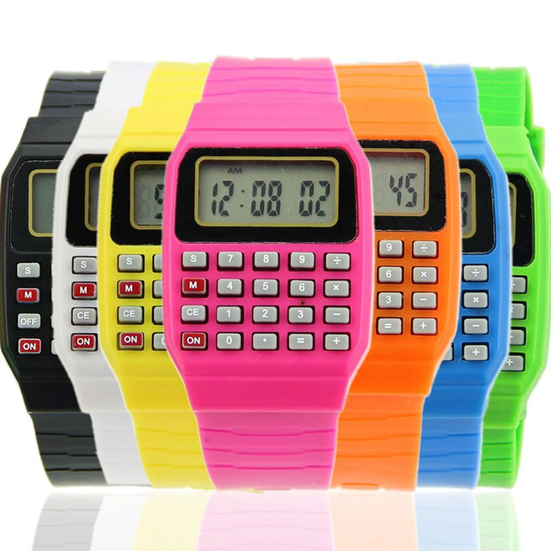 Fad Children Silicone Date Multi-Purpose Kids Electronic Calculator Wrist Watch