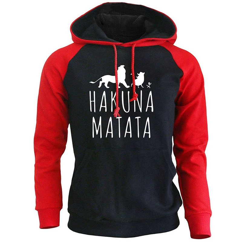 2018 New Arrival Hoodies Men Funny Print HAKUNA MATATA Streetwear Autumn Winter Fleece Sweatshirt For Men's Sportswear Harajuku