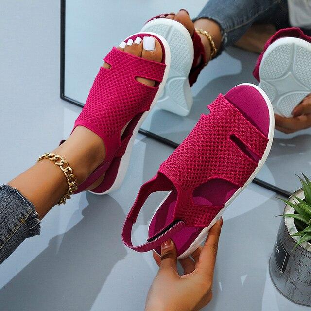 Женские босоножки с кристаллами, повседневные сандалии на плоской подошве с ремешком и пряжкой 5