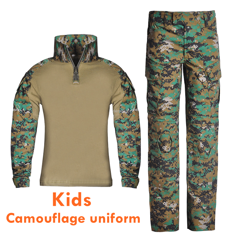 Boys Girl Army Camouflage Uniform Long Sleeve Tactical Training Suits Multi Pocket Kids Military Paintball Scouting Costumes Set