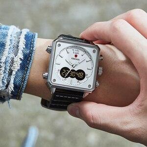 Image 5 - أفضل العلامة التجارية الفاخرة KADEMAN الرجال التناظرية الرقمية الساعات الرياضية جلد طبيعي مربع الشكل ساعة كوارتز Relogio Masculino K9038