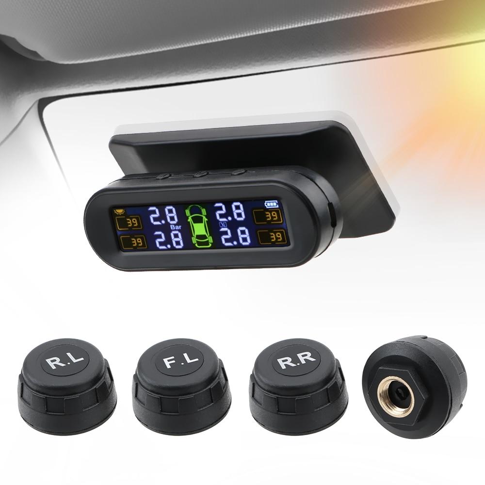 LEEPEE unidade de Aviso De Temperatura do Sensor de Pressão Dos Pneus Do Carro Sistema de Monitor de Pressão Dos Pneus Do Carro De Combustível Salvar Com 4 Externo TPMS Sensor De Energia Solar