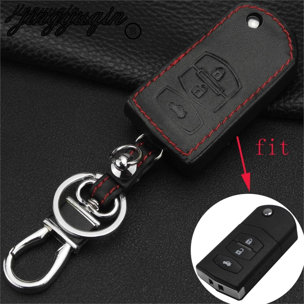 jingyuqin 3 Button Leather Remote Fob Car Key Case Cover For Mazda 2 3 5 6 RX8 MX5 Flip Remote Key Bag Case Car styling Keychain
